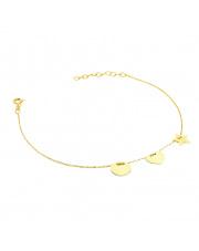 Złota bransoletka celebrytka z kołem, sercem i gwiazdką - pr. 585