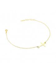 Złota bransoletka celebrytka z krzyżykiem - pr. 585