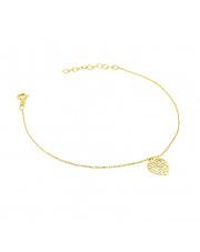 Złota bransoletka celebrytka z ażurowym sercem - pr. 585