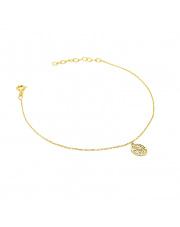Złota bransoletka celebrytka z ażurowym kółkiem - pr. 585