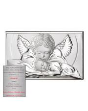 Obrazek srebrny Aniołek nad dzieciątkiem chrzest