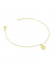 Złota bransoletka celebrytka z medalikiem - pr. 585
