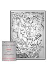 Obrazek srebrny Anioł Stróż na skale