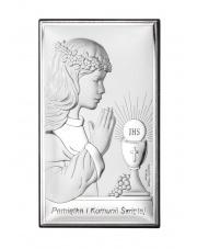 Obrazek srebrny Komunijny z dziewczynką