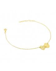 Złota bransoletka celebrytka z sercem i kółkiem - pr. 585