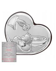 Obrazek srebrny w sercu Na Chrzest