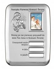 Obrazek srebrny Pamiątka Komunii Świętej