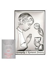 Obrazek srebrny Pierwsza Komunia Święta Chłopiec