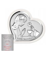 Obrazek srebrny Komunia Dziewczynka serce na białym drewnie