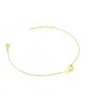 Złota bransoletka celebrytka z kółkiem i krzyżykiem - pr. 585