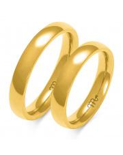 Złote obrączki półokrągłe  z soczewką 4mm - pr.585