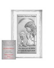 Obrazek Srebrny Pierwsza Komunia Święta Dziewczynka