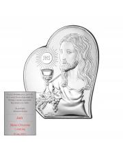 Obrazek Srebrny Pierwsza Komunia Święta - Jezus w Sercu