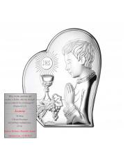 Obrazek srebrny I Komunia Święta Chłopczyk w sercu