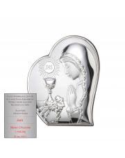 Obrazek srebrny I Komunia Święta Dziewczynki w sercu