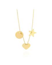 Złoty naszyjnik celebrytka z sercem , gwiazdką i kołem - pr. 585