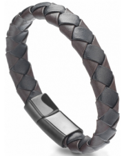 Bransoleta pleciona czarno-brązowa A2630