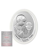 Obraz srebrny Pamiątka pierwszej komunii św. Chłopiec