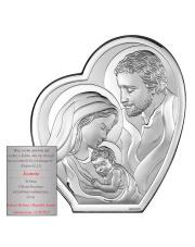 Obrazek srebrny Święta Rodzina w sercu