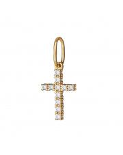 Złota zawieszka krzyżyk z białymi cyrkoniami - pr. 585