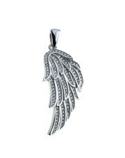 Srebrna zawieszka skrzydło anioła z kamieniami - pr. 925