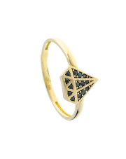 Złoty pierścionek diament z czarnymi kamieniami - pr. 585