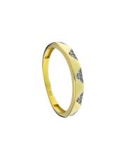 Złoty pierścionek obrączka z białymi kamieniami - pr. 585