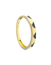 Złoty pierścionek obrączka z czarnymi kamieniami - pr. 585