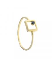 Złoty pierścionek kontur kwadratu z czarnym oczkiem - pr. 585