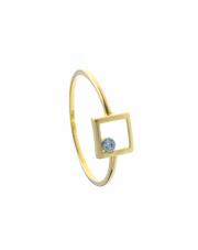Złoty pierścionek kontur kwadratu z białym oczkiem - pr. 585