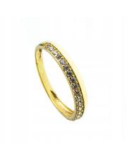 Złoty pierścionek obrączka z kamieniami - pr. 585