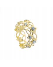 Złoty pierścionek ażurowa obrączka z cyrkonią - pr. 585