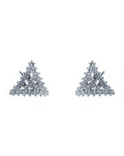 Srebrne kolczyki sztyfty - trójkąt z kamieniami p.925