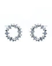 Srebrne kolczyki sztyfty - kółko z białych kamieni p.925