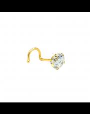 Złoty kolczyk do nosa z cyrkonią pr. 585