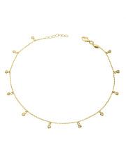 Złota bransoletka na nogę z wiszącymi cyrkoniami - pr. 585