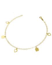 Złota bransoletka na nogę - serca i koniczynki pr. 585