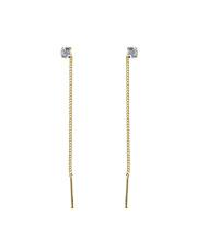 Złote kolczykii przewlekane przez ucho z cyrkonią pr. 585