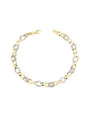 Złota bransoletka biało- żółta owal pr.585
