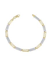 Złota bransoletka biało- żółte prostokąty pr.585