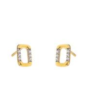 Złote kolczyki sztyfty - prostokąt z kamieniami - pr.333