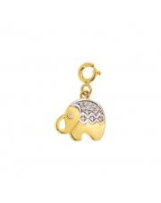 Złota zawieszka Charms słoń pr. 585
