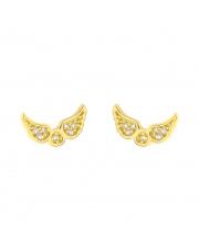 Złote kolczyki sztyfty skrzydła anioła z kamieniami - pr.585