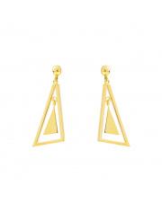 Złote kolczyki sztyfty wiszące trójkąty - pr.585