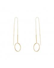 Złote kolczyki przewlekane przez ucho - pr.585