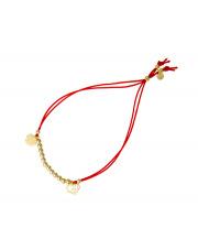Pozłacana bransoletka na sznurku koniczynka i serduszka - pr.925