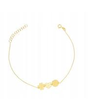Złota bransoletka celebrytka serce, koniczynka, kółko - pr. 585