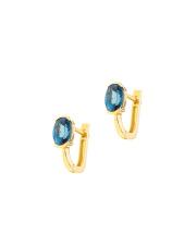 Złote kolczyki z niebieskim kamieniem pr. 585
