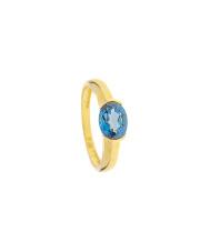 Złoty pierścionek z niebieskim kamieniem - pr.585