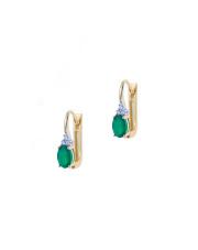 Złote kolczyki z zielonym kamieniem i białymi cyrkoniami pr. 585